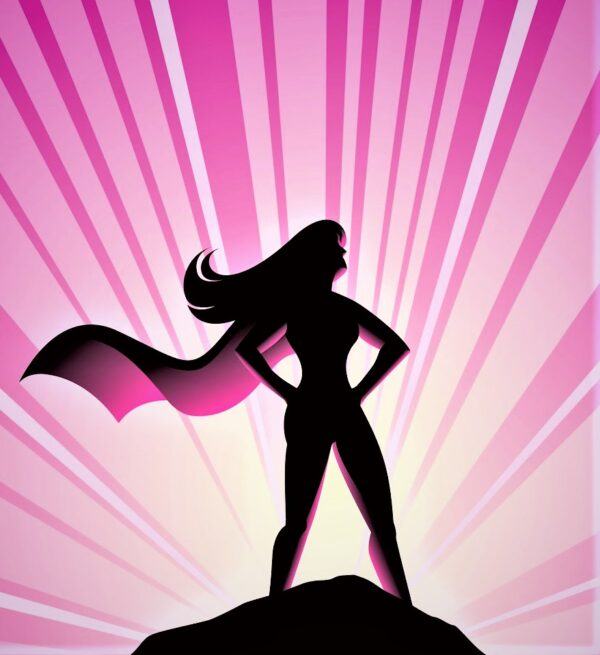 power female superhero with cape- pink