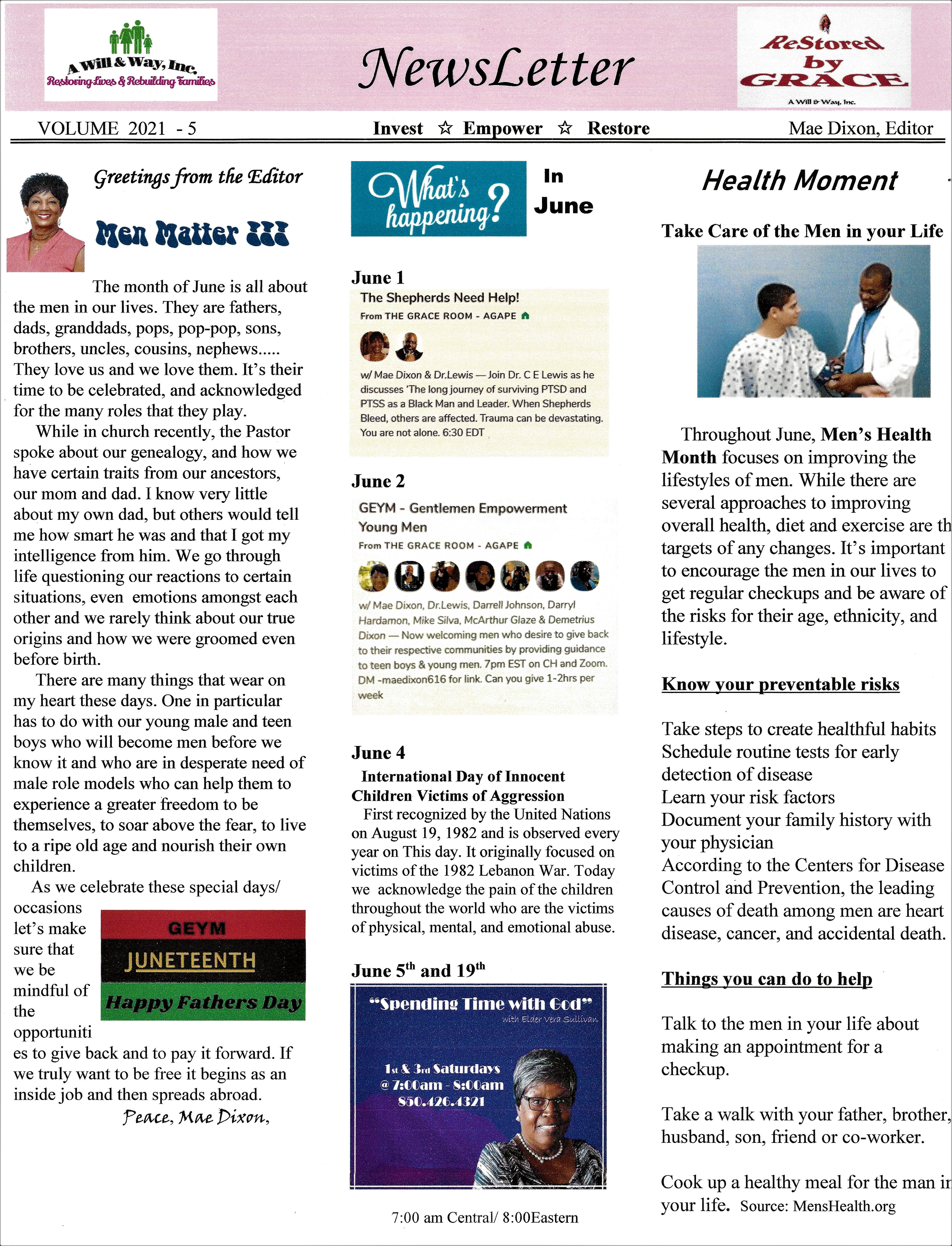 JUNE 2021 Newsletter page 1